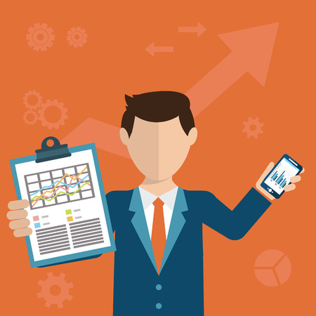 analytic: Businessman with a task, showing task and analytic, flat modern design.