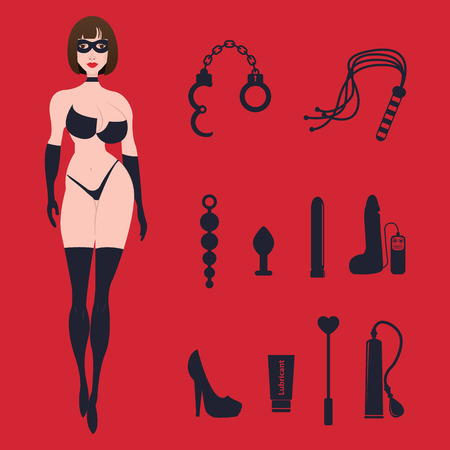 Fetish BDSM sexy woman in lingerie  with sex toys. Çizim