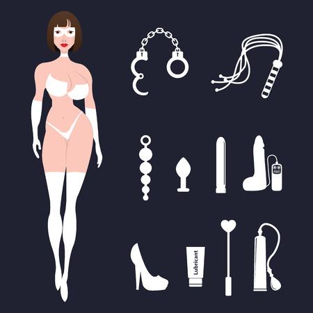 sexo femenino: BDSM mujer atractiva del fetiche en ropa interior con los juguetes sexuales.