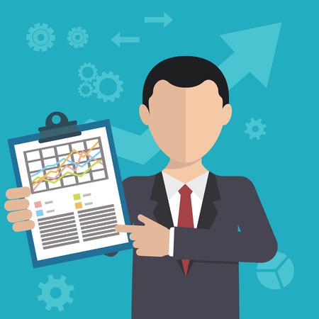 analytic: Hombre de negocios con una tarea, mostrando tarea y anal�tica, dise�o plano moderno. Vectores