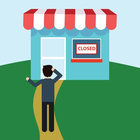 graphic display cards: Disappointed man in front of closed shop. Illustration