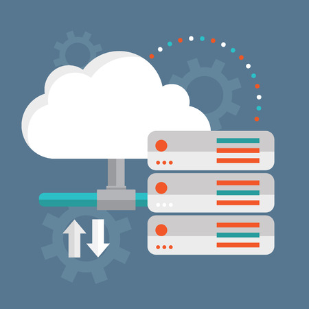 Cloud Computing  Cloud data storage. Stock Illustratie