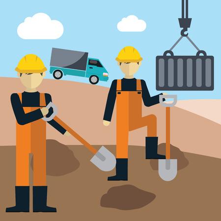 manual worker: Construction worker holding a shovel