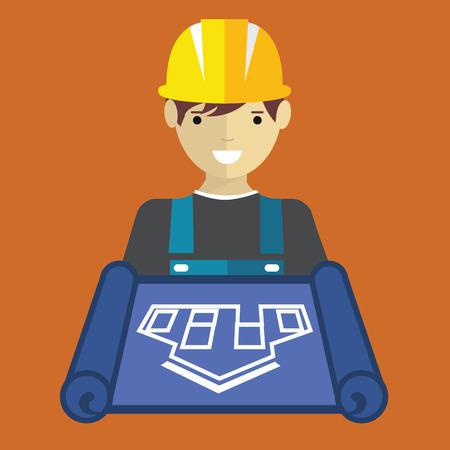civil engineer: Engineer worker with blueprint flat vector. Illustration