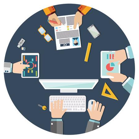 Zakelijke bijeenkomst, brainstormen in vlakke stijl