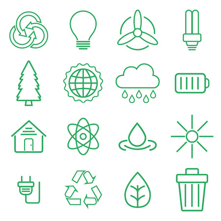 Set of universal modern thin line Ecology icons for web and mobile.