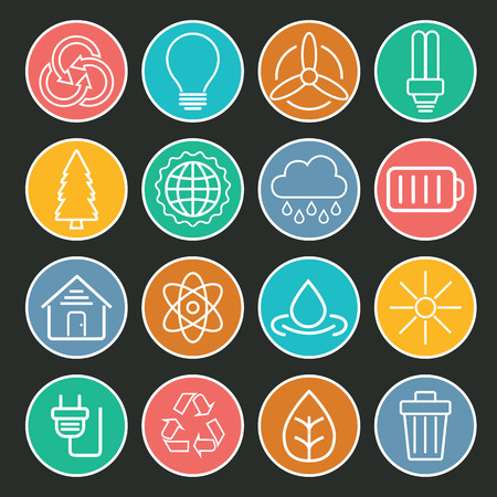antipollution: Set of universal modern thin line Ecology icons for web and mobile.
