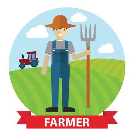 agricultor: Vector ilustraci�n de un granjero feliz de pie con su tenedor de excavaci�n en el campo.