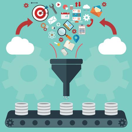 Płaska konstrukcja ilustracja koncepcje procesu twórczego, duży filtr danych, analiza danych, tunelu koncepcji.