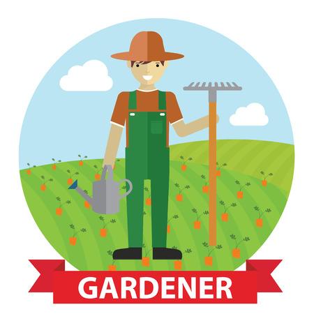 Vector illustration of an happy Gardener standing with his garden tool on field. Vector