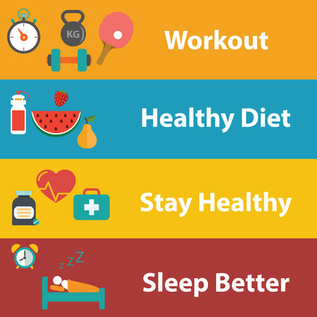 digital book: Set of flat design concept icons for web and mobile phone rest and relax, medical, Healthy style life, healthy food and farm fresh concept. Sports Health Infographics, flat style, vector.. Illustration