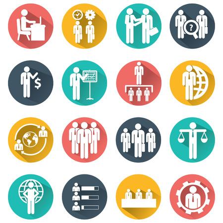 Human resources en management iconen set. Stock Illustratie