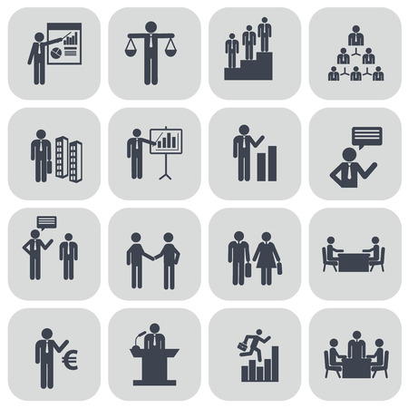 business teamwork: Human resources and management icons set. Illustration