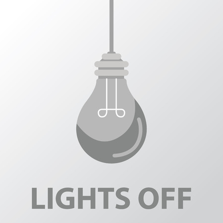 yellow bulb: light bulb light off flat design.
