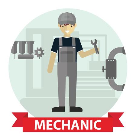 mechanic man: Flat modern design of Male mechanic cartoon character holding a wrench.