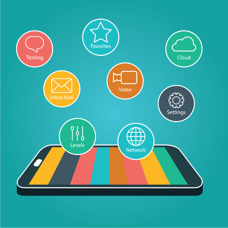 Touchscreen Smartphone with Application Icons., Smart Phone with Apps Illustration