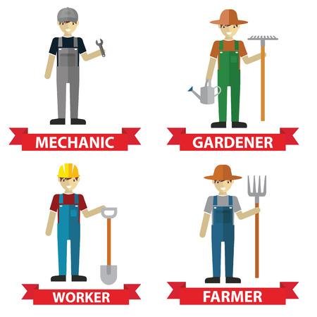 Set of workers Mechanic  Gardener  Construction Worker and Farmer. Vector