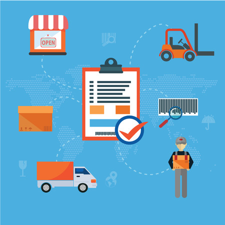 Logistics packing process delivery services isolated vector illustration.