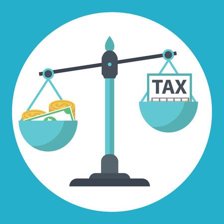 저울에 세금 균형 돈. 세금 부담.