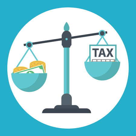 balance scale: Money balancing with TAX on scales. TAX burden.