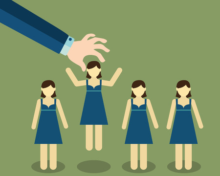 pick: Human Resources concept. choosing the perfect candidate for the job. Illustration