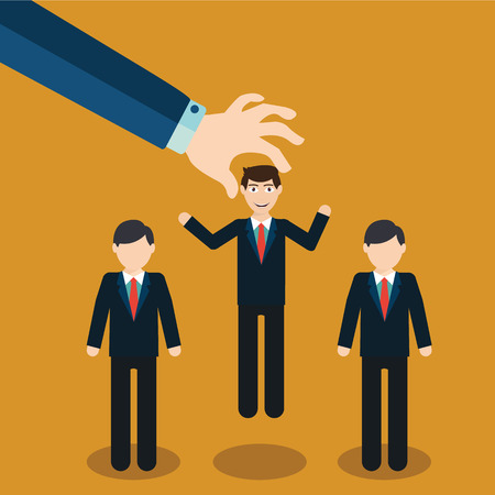 choosing: Human Resources concept. choosing the perfect candidate for the job. Illustration