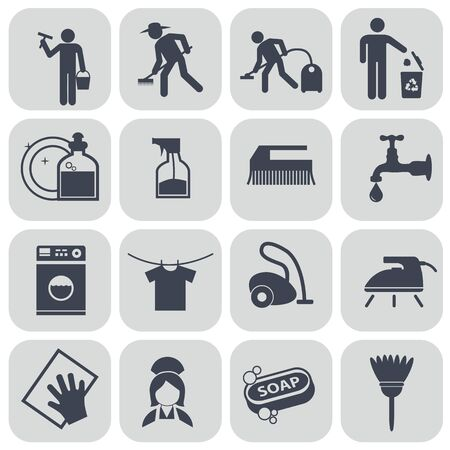 dusting: Vector black cleaning icons set on gray.