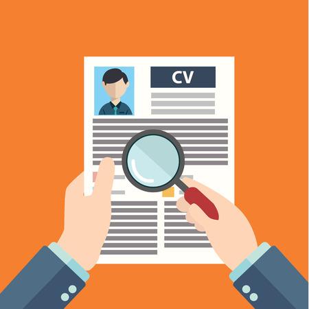 Estilo Diseño plano ilustración vectorial moderno concepto de gestión de recursos humanos, la búsqueda de personal profesional, trabajo head hunter, tema del empleo y el análisis personal de reanudar