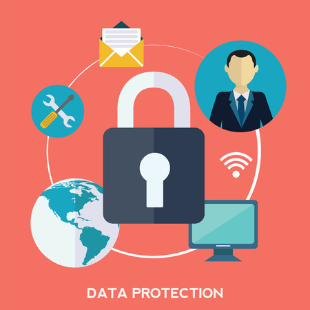 password protection: Flat padlock icon. Data protection concept. Social network security.