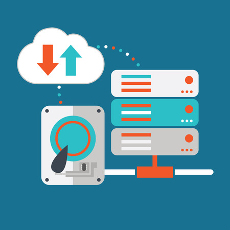 Vector illustration of hardware and cloud computing concept. Vector
