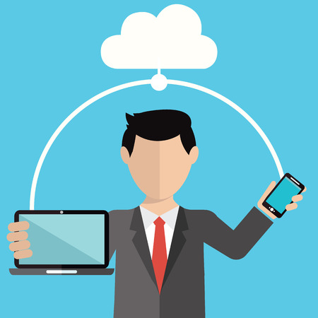 Businessman using cloud storage for smart phone and laptop. Vector illustration in flat design style Illusztráció