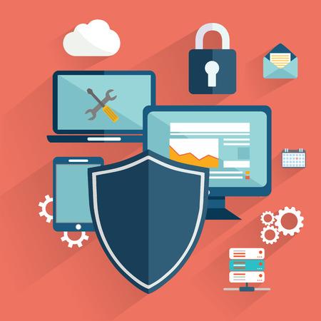 proteccion: la seguridad en línea, protección de datos, conexión segura, la criptografía, antivirus, firewall, el intercambio de archivos de nube, la seguridad de Internet infografía vector de concepto. Interfaz cifrar Laptop
