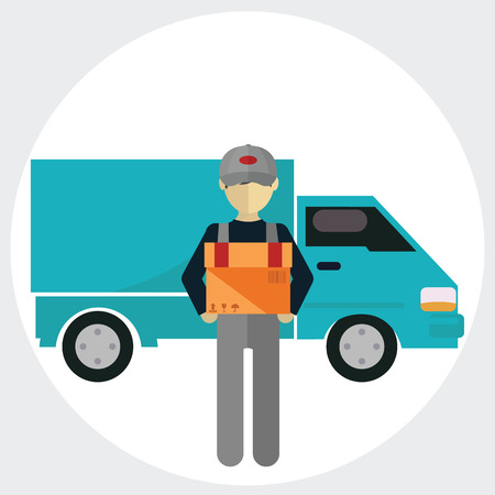 courier service: Man postal delivery courier man in front of cargo van delivering package.