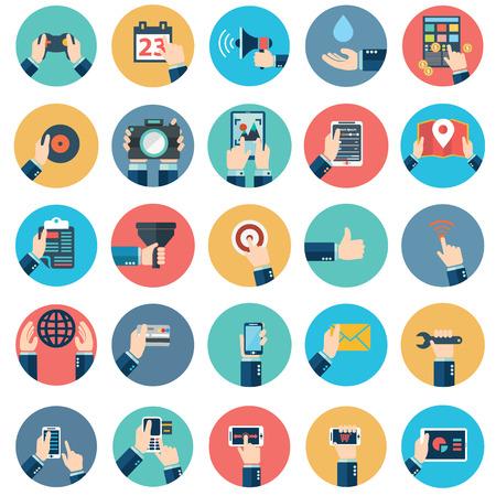 Moderne vlakke pictogrammen vector collectie in stijlvolle retro kleuren van de mobiele telefoon, digitale tablet en andere apparaten met behulp van met de hand-symbool. Geïsoleerd op witte achtergrond