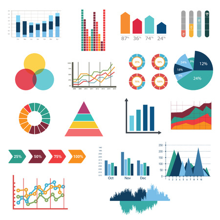 Business data market elements dot bar pie charts diagrams and graphs flat icons set isolated vector illustration Ilustrace