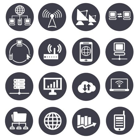data processing: data analytic and social network icons set.