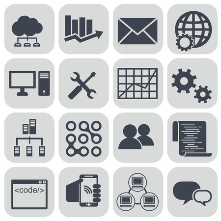 information management: big data icon set, data analytics icon set, cloud computing icon set.