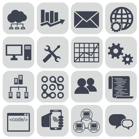conjunto de iconos de big data, conjunto de iconos de análisis de datos, conjunto de iconos de computación en la nube. Ilustración de vector