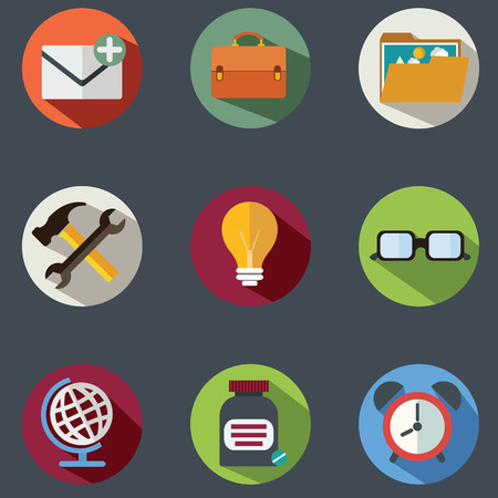 Modern flat icons vector collection with long shadow effect in stylish colors of business elements, office equipment and marketing items