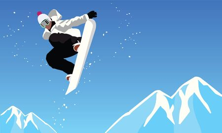 snowboarder jumping: Snowboarder jumping against blue sky.