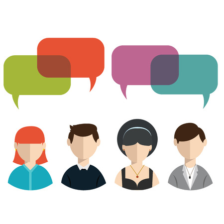 black lady talking: People icons with colorful dialog speech bubbles.