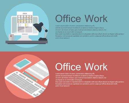 printed work: Set of flat design vector illustration concepts of office work. Concepts for web banners and printed materials. Illustration