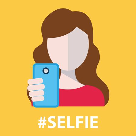 woman cellphone: Selfie  taking self photo vector illustration