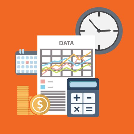 analog�a: El tiempo es dinero concepto de negocio en dise�o plano moderno. ilustraci�n vectorial