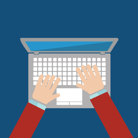 Businessman hand on laptop keyboard with blank screen monitor. Ilustração
