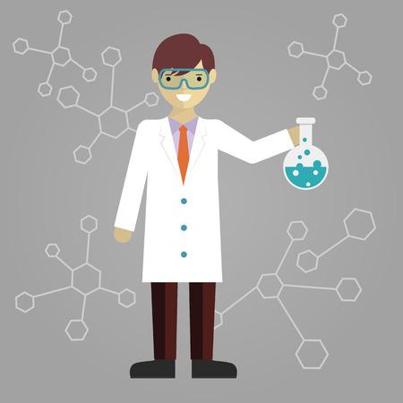 balanza de laboratorio: Científico en laboratorio de investigación de la educación científica con frascos y material de laboratorio ilustración del cartel del vector Vectores