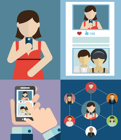 posting: Social media network concept with human hand with smartphone avatars and posting