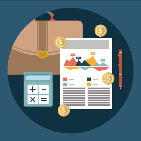contabilidad: El éxito de informe del plan de negocio financiero y la contabilidad concepto ilustración vectorial.