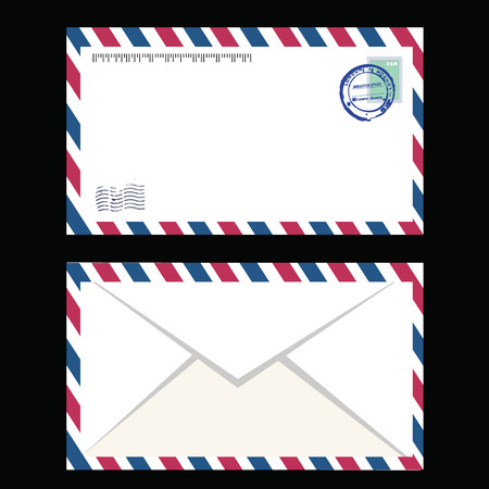 postal stamp: Air mail envelope with postal stamp isolated.