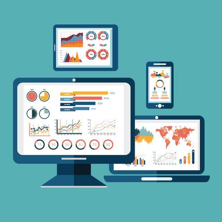Platte ontwerp moderne vector illustratie concept van de website analytics zoeken van informatie en het berekenen van data-analyse met behulp van moderne elektronische en mobiele apparaten. Geïsoleerd op een stijlvolle achtergrond.